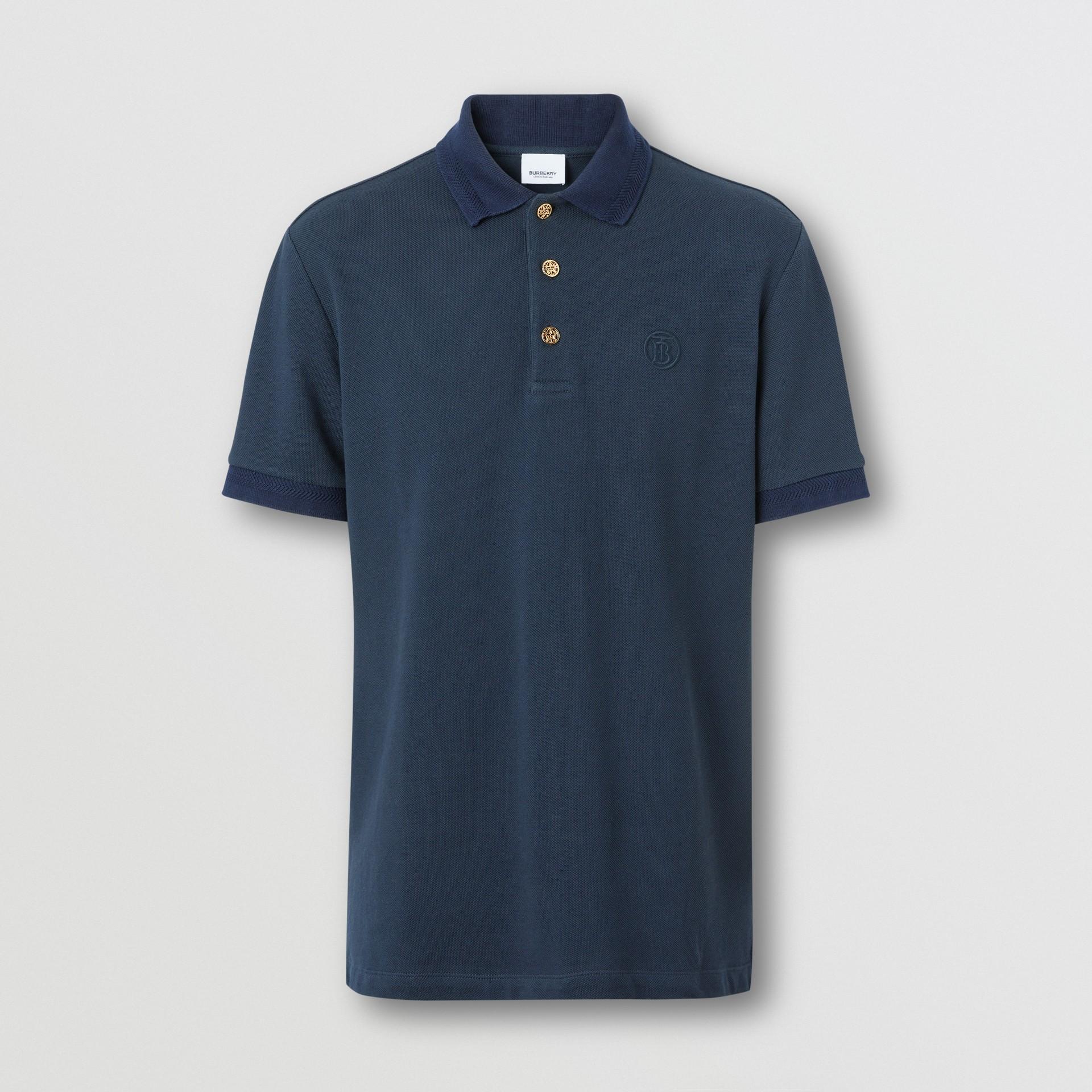 Button Detail Cotton Piqué Polo Shirt in Navy - Men | Burberry Hong Kong S.A.R. - gallery image 3