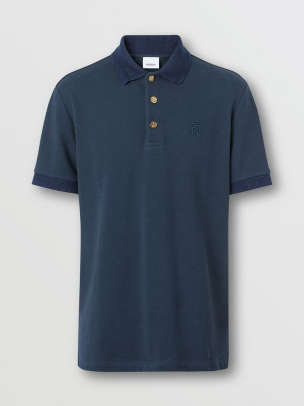 Button Detail Cotton Piqué Polo Shirt in Navy - Men | Burberry - cell image 3