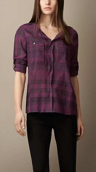 Collarless Silk Cotton Check Tunic