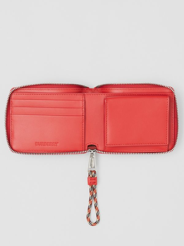 Horseferry Print Leather Ziparound Wallet in Red/white - Men | Burberry - cell image 2