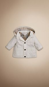 Check-Lined Hooded Cotton Jacket