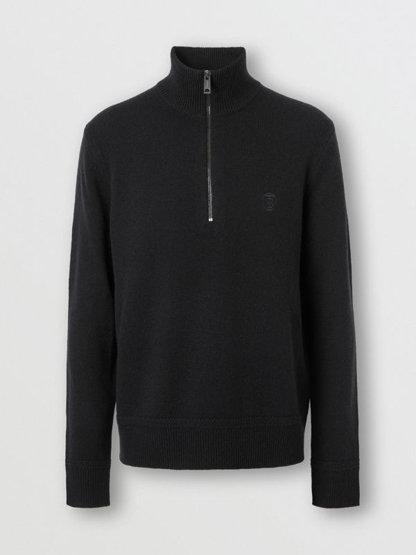 Monogram Motif Cashmere Funnel Neck Sweater in Black - Men | Burberry - cell image 3