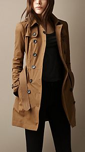 Mid-Length Cotton Satin Trench Coat