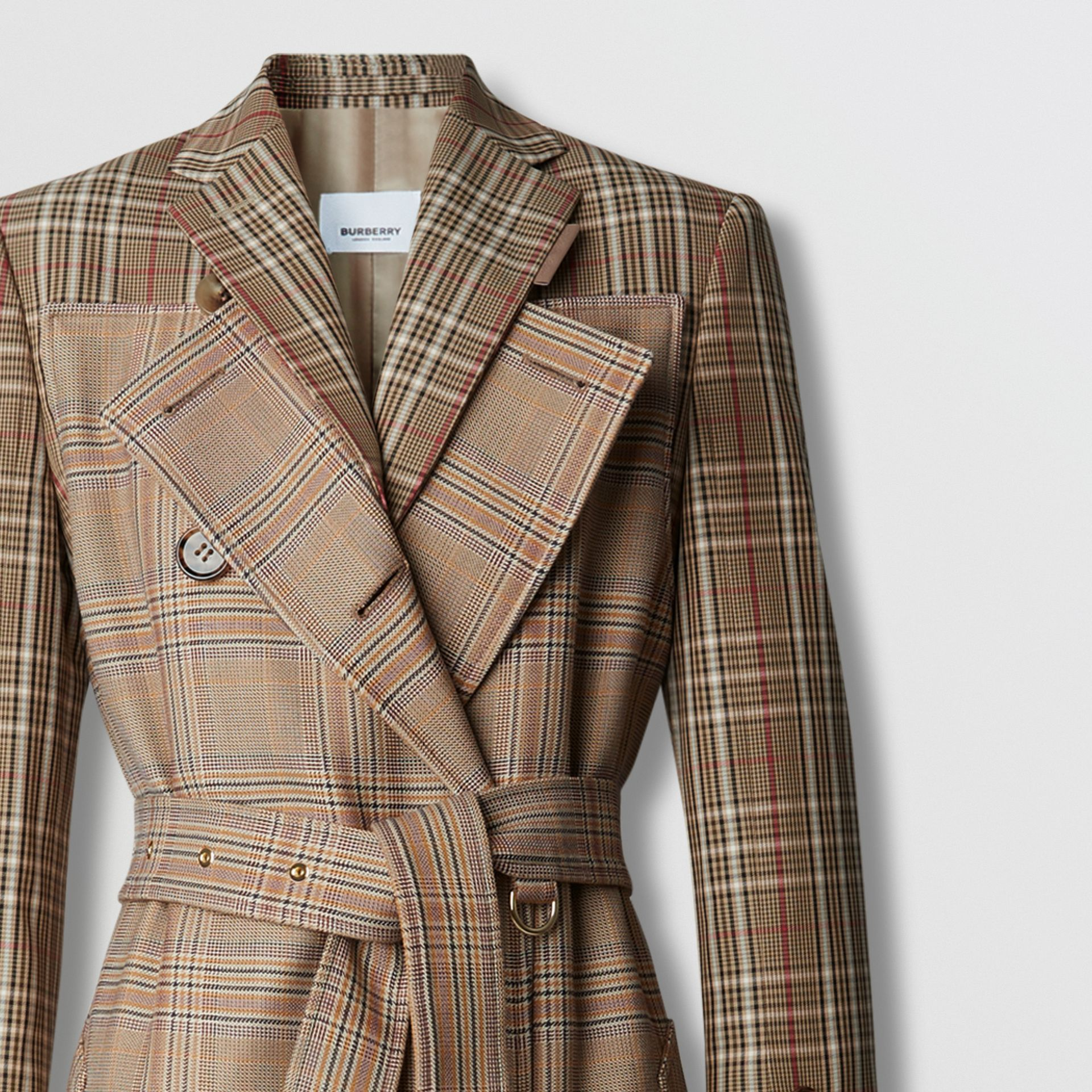 Custom Fit Contrast Check Wool Cotton Trench Coat in Dark Honey - Women | Burberry - gallery image 6