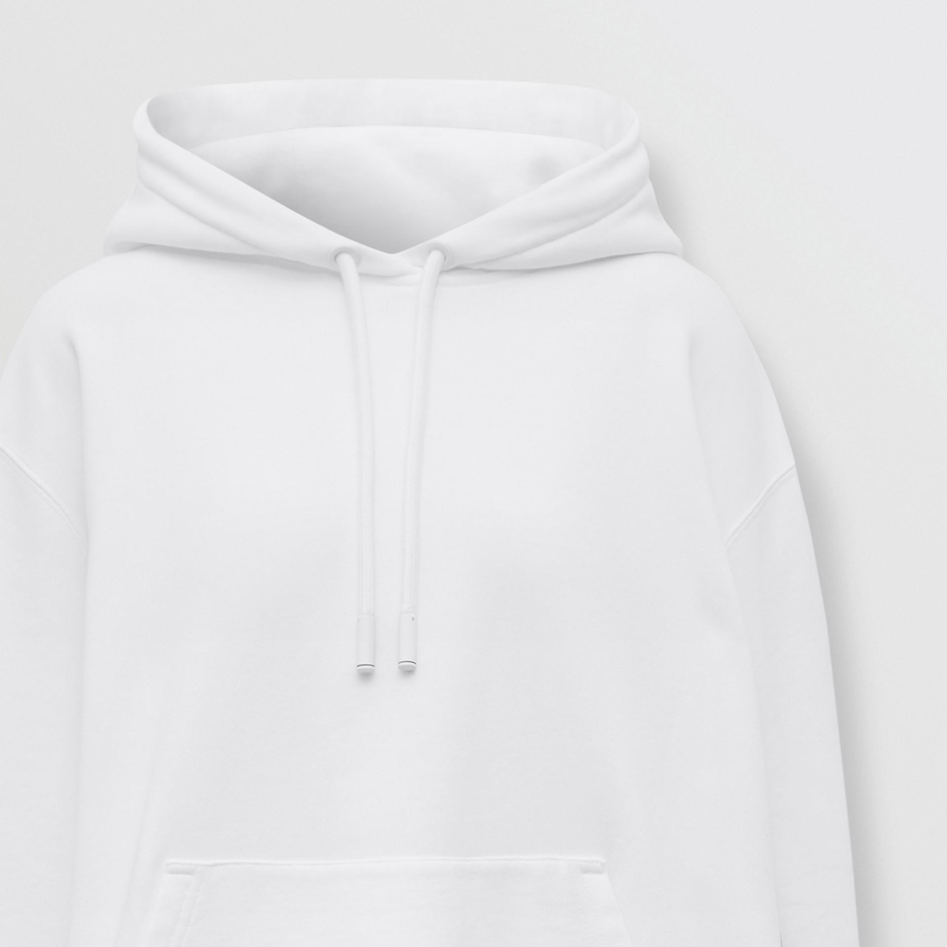 Sweat-shirt à capuche oversize en coton avec coordonnées (Blanc) - Femme | Burberry - photo de la galerie 6