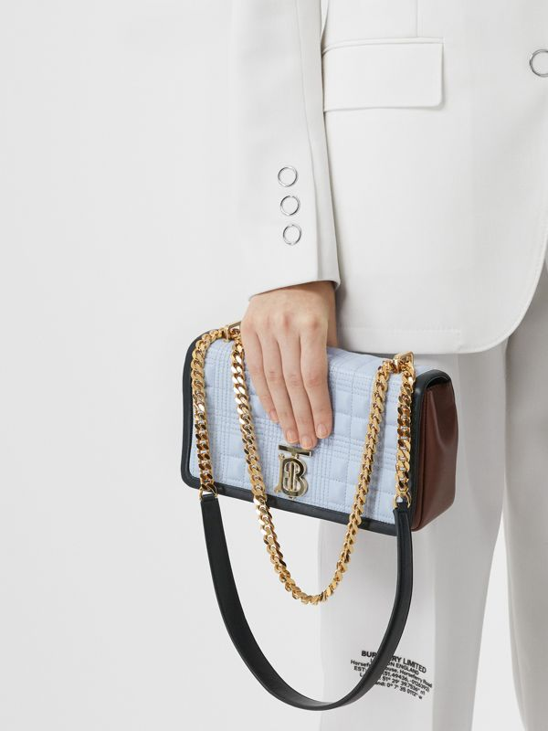 Small Quilted Tri-tone Lambskin Lola Bag in Pale Blue/dark Pine - Women | Burberry - cell image 2