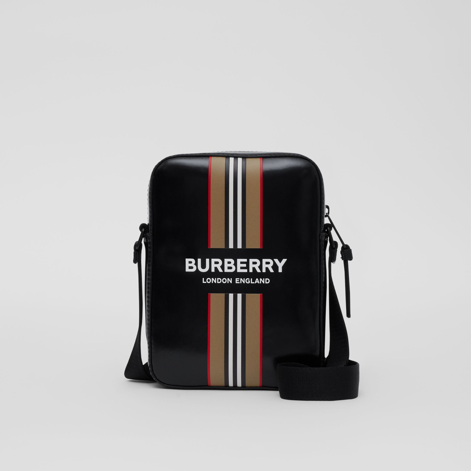 Logo and Icon Stripe Print Crossbody Bag in Black - Men | Burberry United Kingdom - gallery image 0