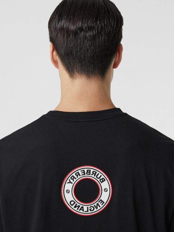 Logo Graphic Appliqué Cotton Oversized T-shirt in Black - Men | Burberry Hong Kong S.A.R. - cell image 1