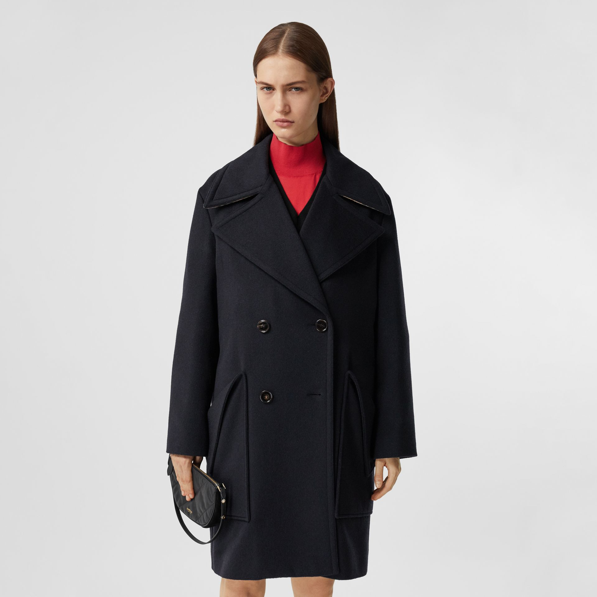 Pocket Detail Cashmere Pea Coat in Navy - Women | Burberry - gallery image 6