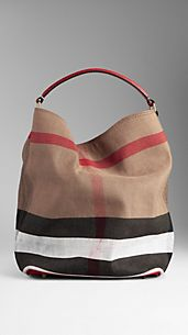 Bolso hobo mediano de checks en lona