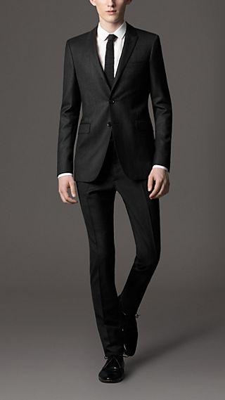 Slim Fit Virgin Wool Morning Stripe Suit