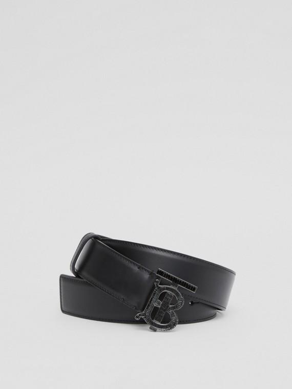 Crystal Monogram Motif Leather Belt in Black