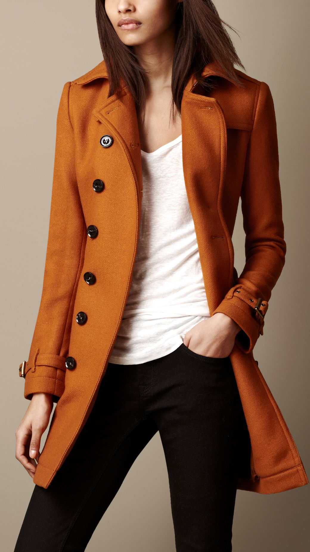 Burberry Mid-Length Wool Blend Trench Coat