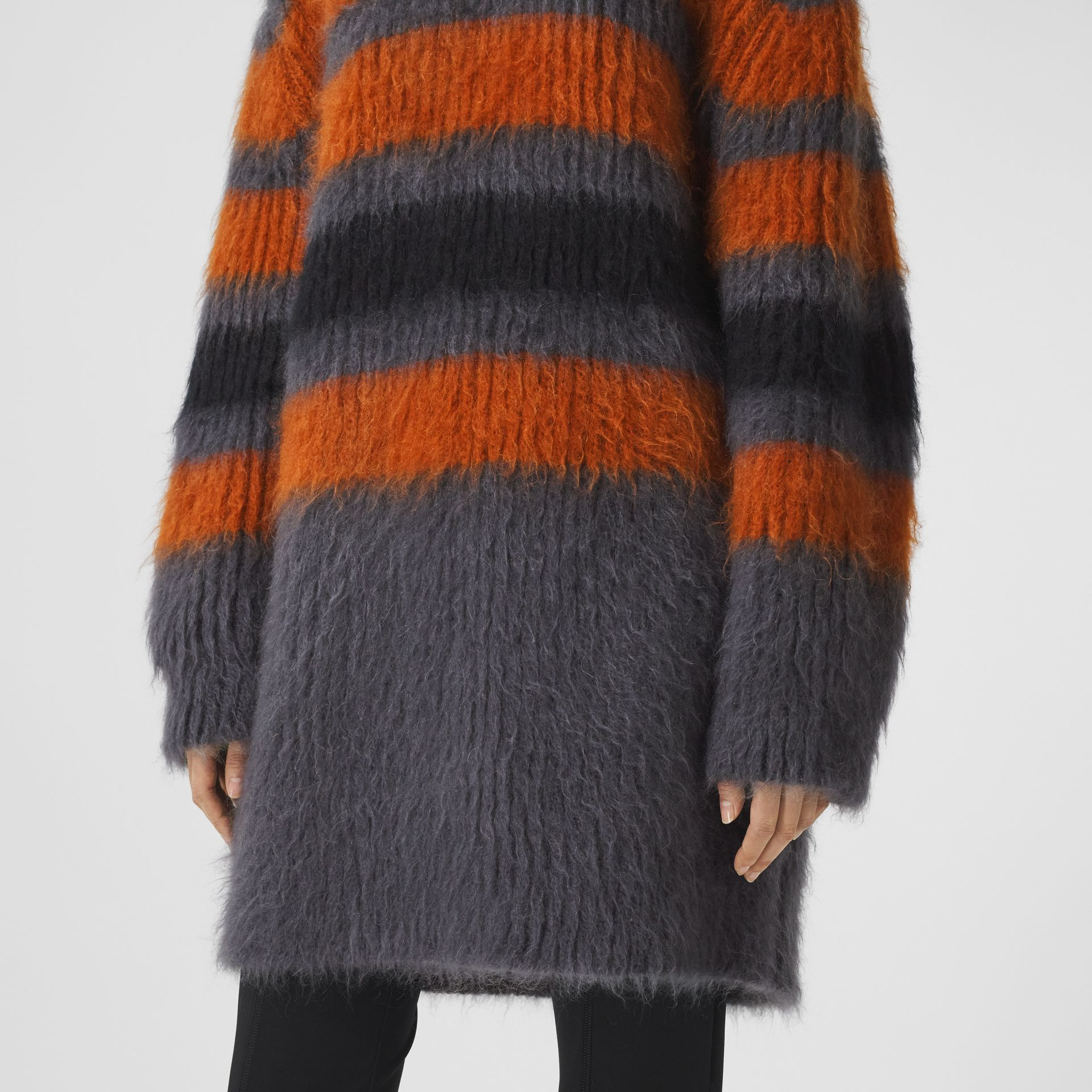 Stripe Intarsia Mohair Silk Oversized Sweater in Dark Grey Melange - Women | Burberry - gallery image 4