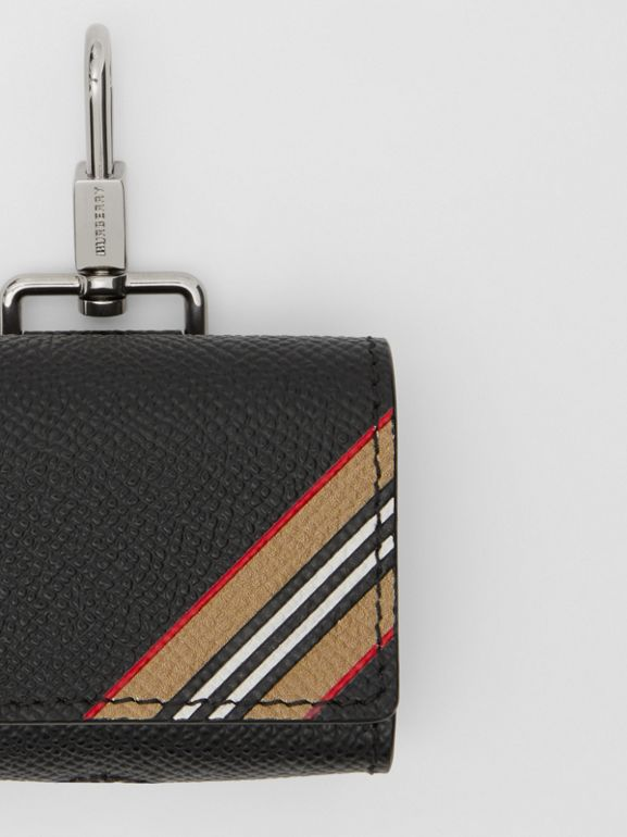 Icon Stripe Print Grainy Leather AirPods Pro Case in Black | Burberry - cell image 1