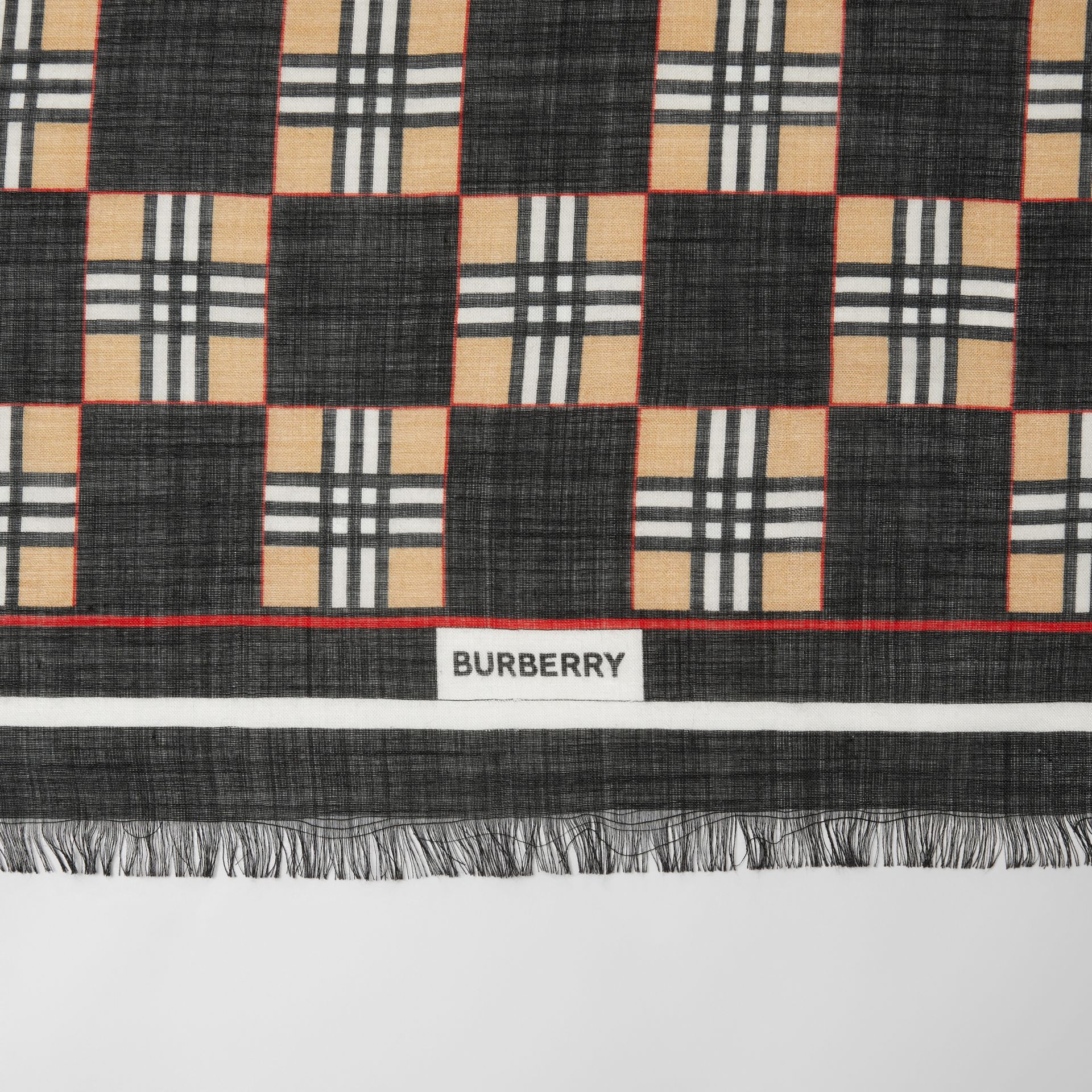 Chequer Print Wool Silk Scarf in Black | Burberry United Kingdom - gallery image 1