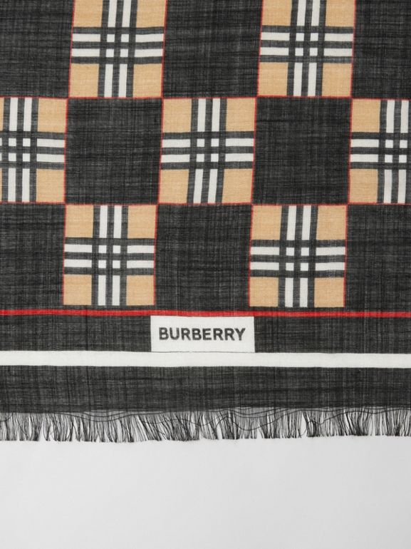 Chequer Print Wool Silk Scarf in Black | Burberry United Kingdom - cell image 1