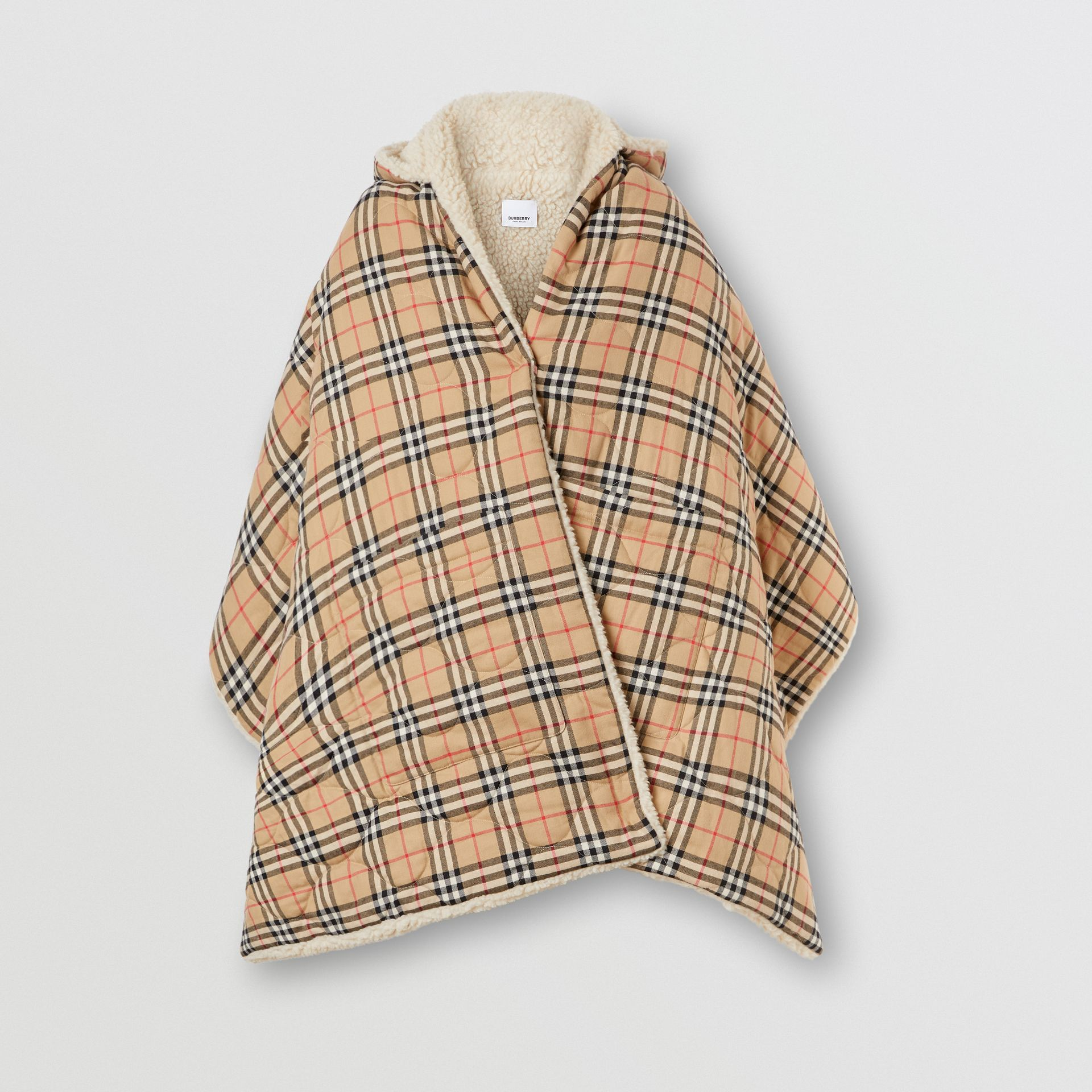 Fleece-lined Vintage Check Cotton Hooded Cape in Camel - Women | Burberry Canada - gallery image 3