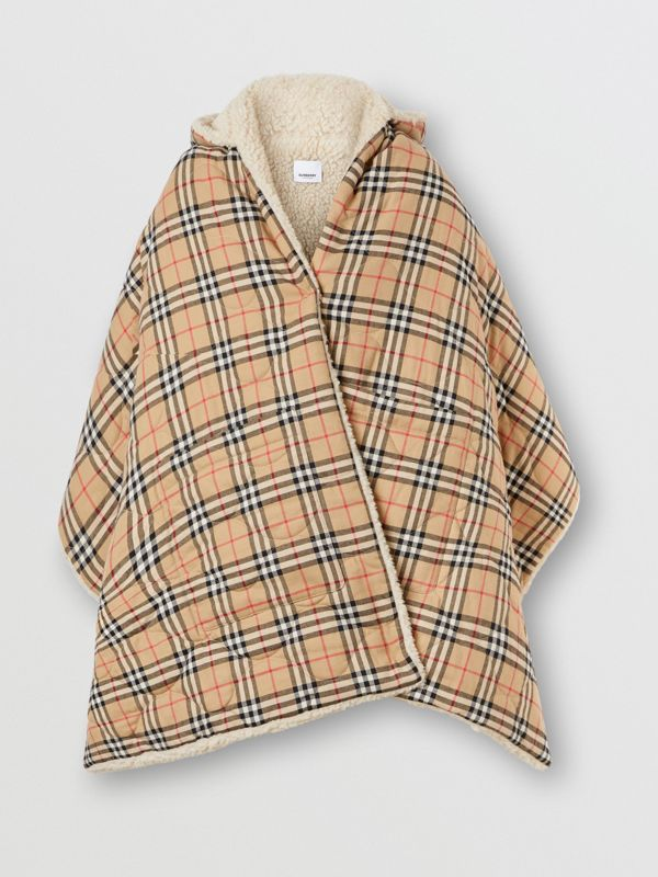 Fleece-lined Vintage Check Cotton Hooded Cape in Camel - Women | Burberry Canada - cell image 3