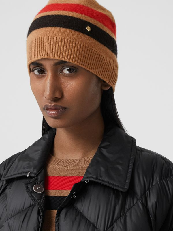 Monogram Motif Merino Wool Cashmere Beanie in Warm Camel | Burberry - cell image 2