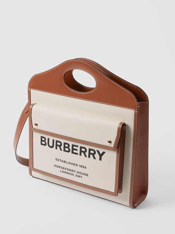 Medium Two-tone Canvas and Leather Pocket Bag in Natural/malt Brown - Women | Burberry United Kingdom - cell image 2