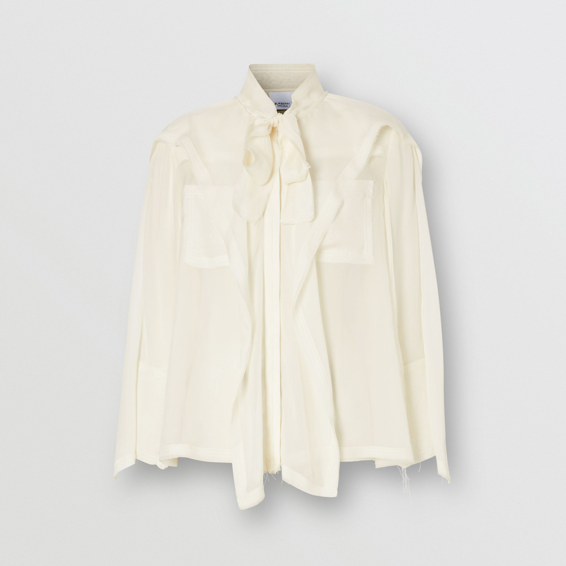 Ruffled Silk Chiffon Pussy-bow Blouse in Ivory - Women | Burberry - gallery image 3