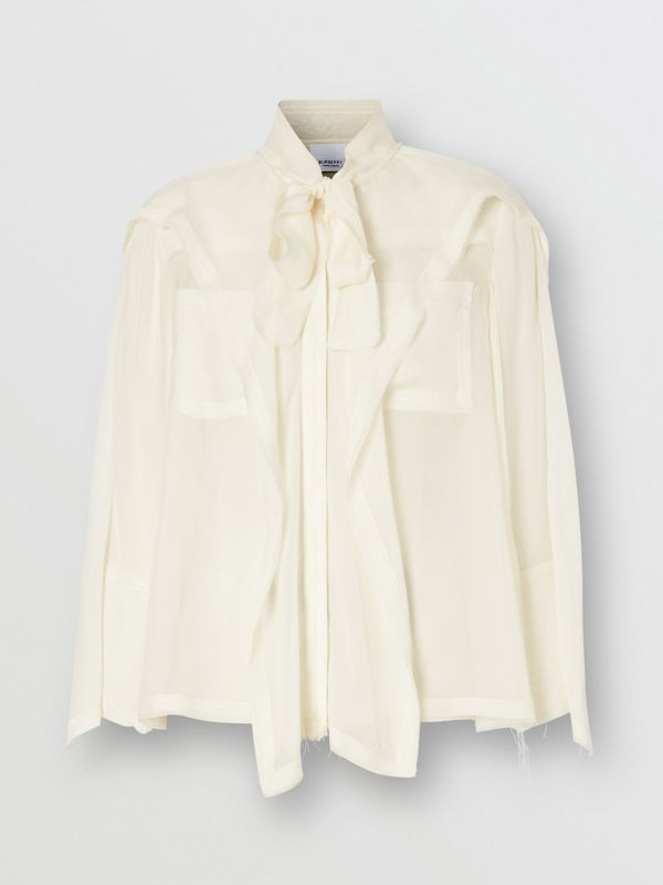 Ruffled Silk Chiffon Pussy-bow Blouse in Ivory - Women | Burberry - cell image 3