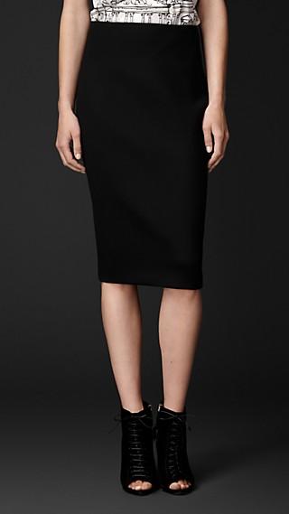 Stretch Virgin Wool Pencil Skirt