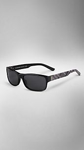 Check Detail Rectangular Sunglasses