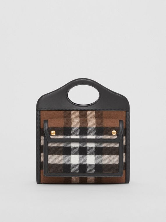 Mini Check Cashmere and Leather Pocket Bag in Black