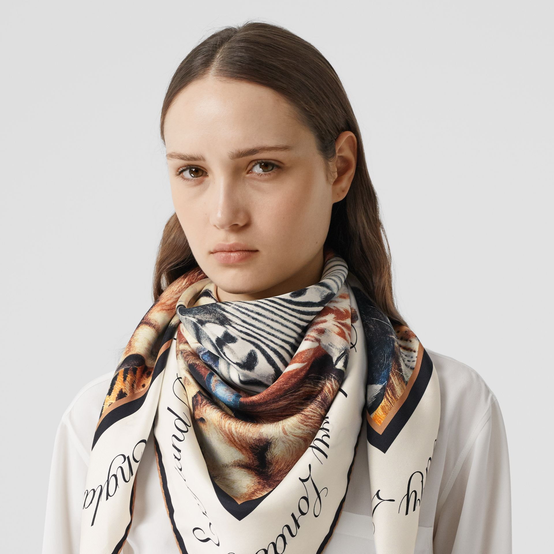 Animalia Print Silk Square Scarf in Camel | Burberry - gallery image 2