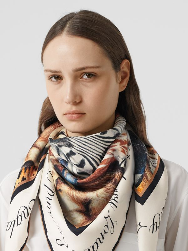 Animalia Print Silk Square Scarf in Camel | Burberry - cell image 2