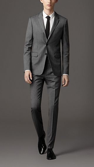 Travel Tailoring Wool Herringbone Suit