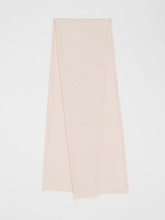 Echarpe de lã e seda com monograma em jacquard (Rosa Alabastro)