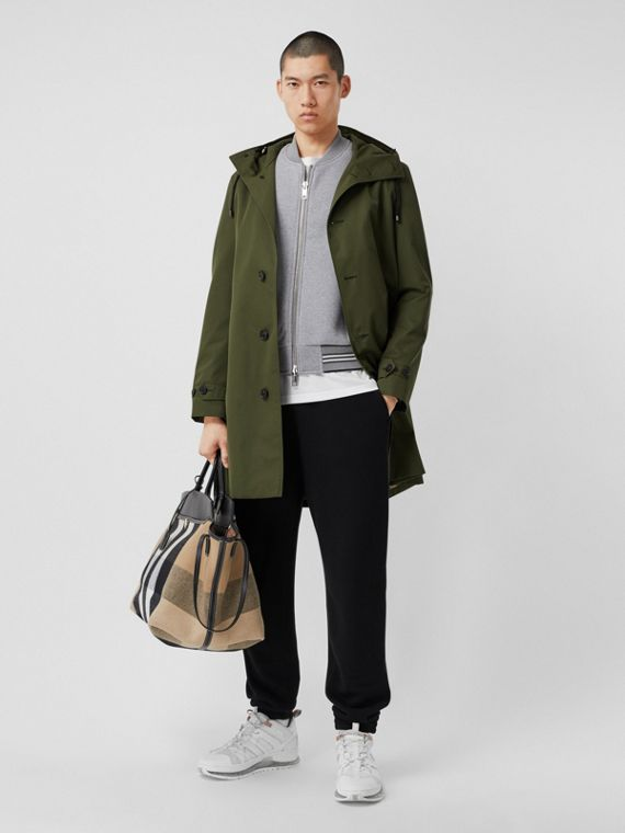 Cotton Gabardine Hooded Coat in Dark Olive Green