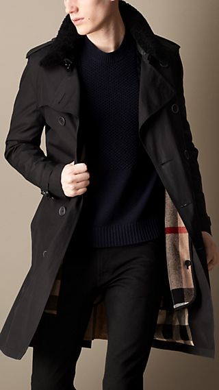 Mid-Length Shearling Collar Canvas Trench Coat