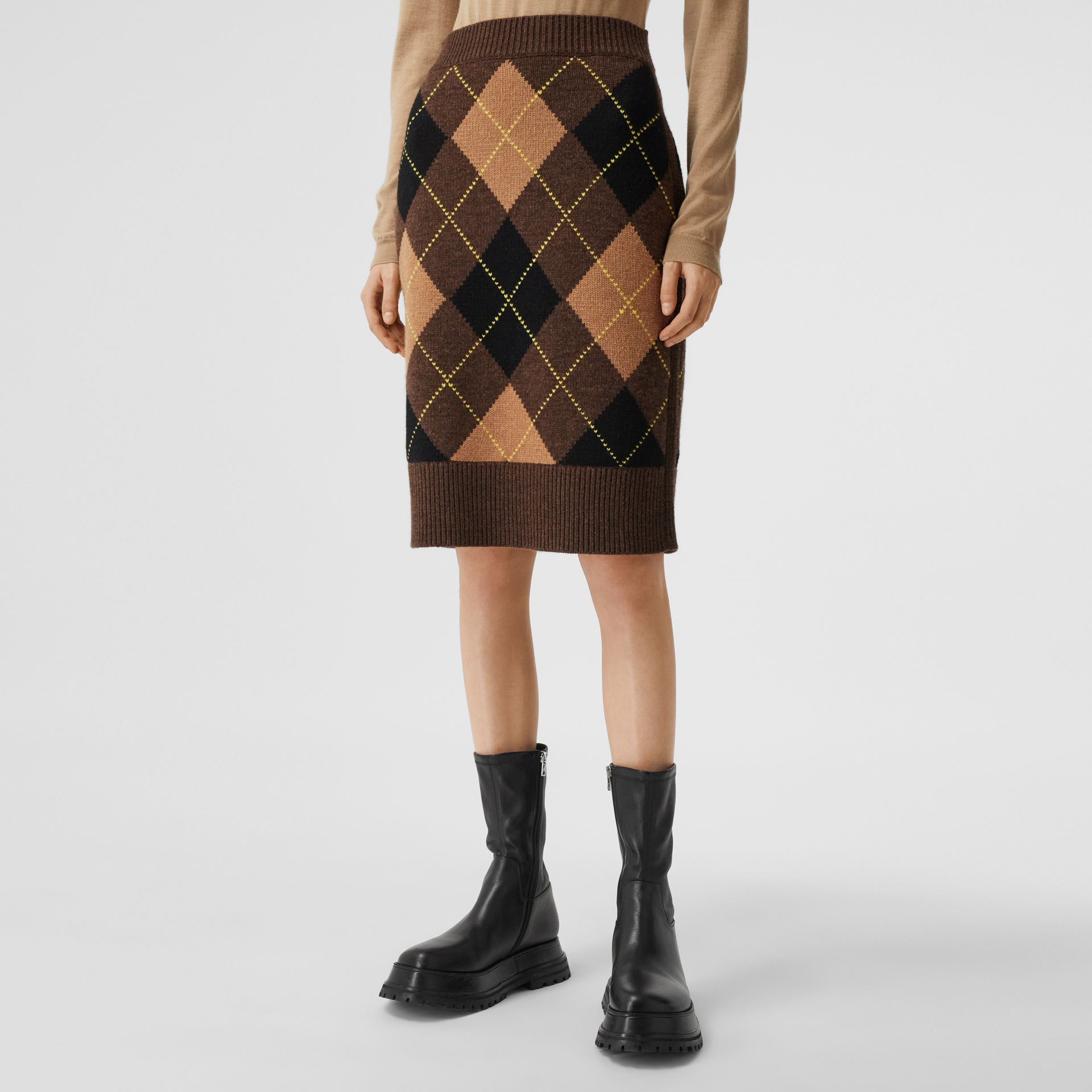 Argyle Intarsia Wool Cashmere Pencil Skirt in Dark Khaki - Women | Burberry - gallery image 5