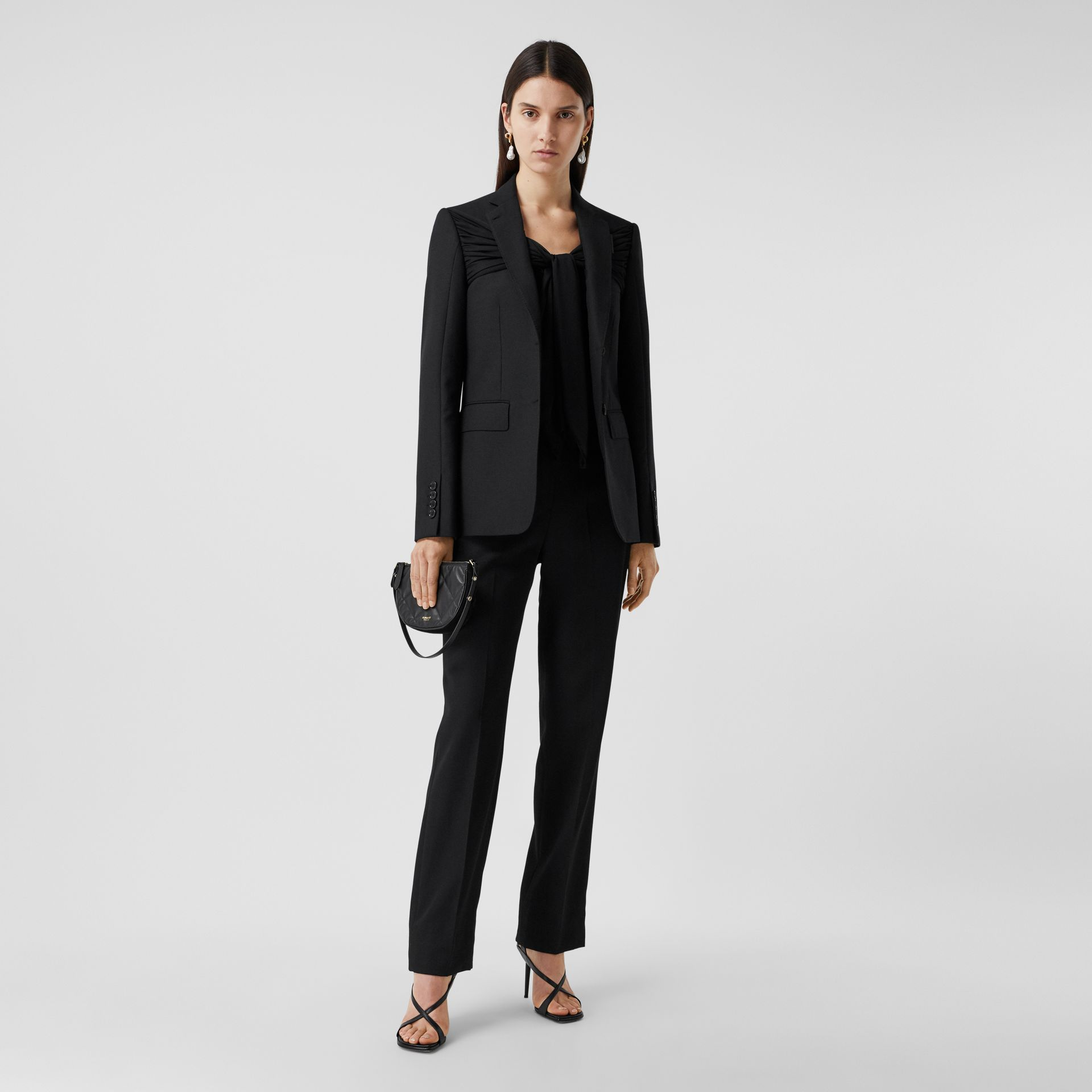 Jersey Sash Detail Wool Tailored Jacket in Black - Women | Burberry - gallery image 0