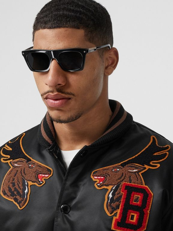 Varsity Graphic Satin Bomber Jacket in Black - Men | Burberry - cell image 1