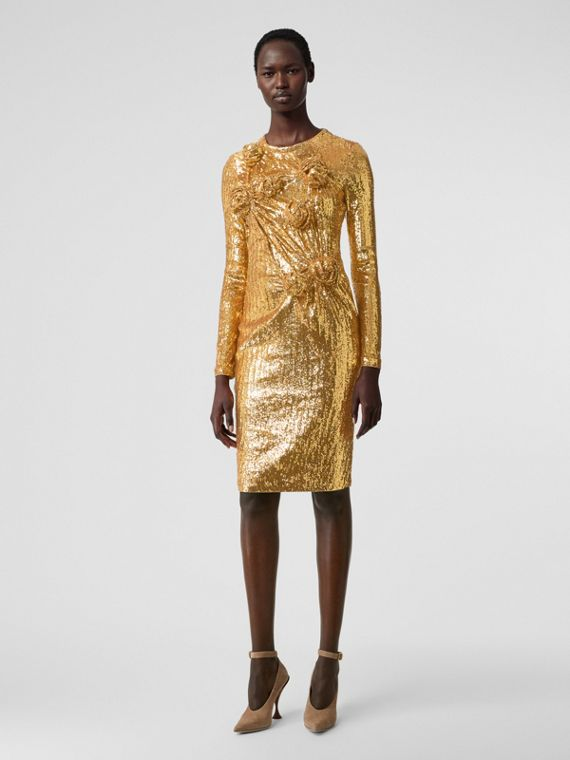 Hand-gathered Detail Sequinned Dress in Honey