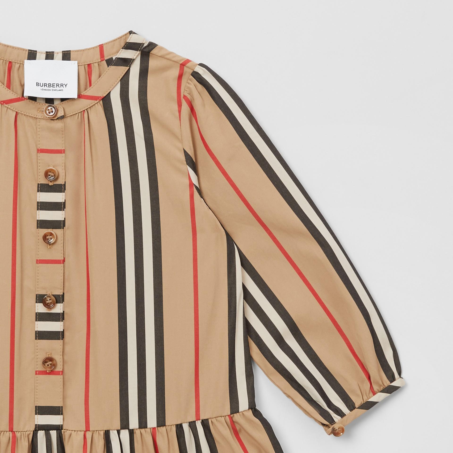 Icon Stripe Gathered Cotton Poplin Dress - Children | Burberry United Kingdom - gallery image 3