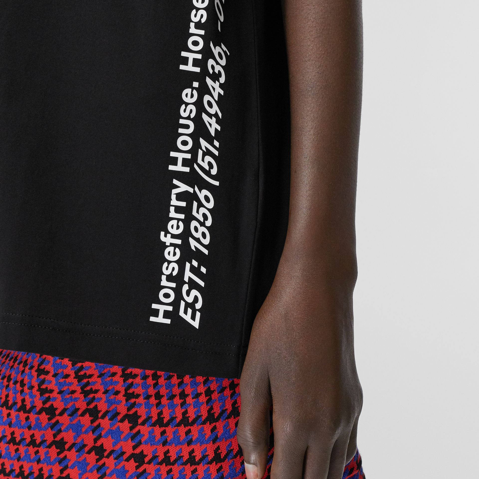 Coordinates Print Cotton Oversized T-shirt in Black - Women | Burberry Canada - gallery image 4