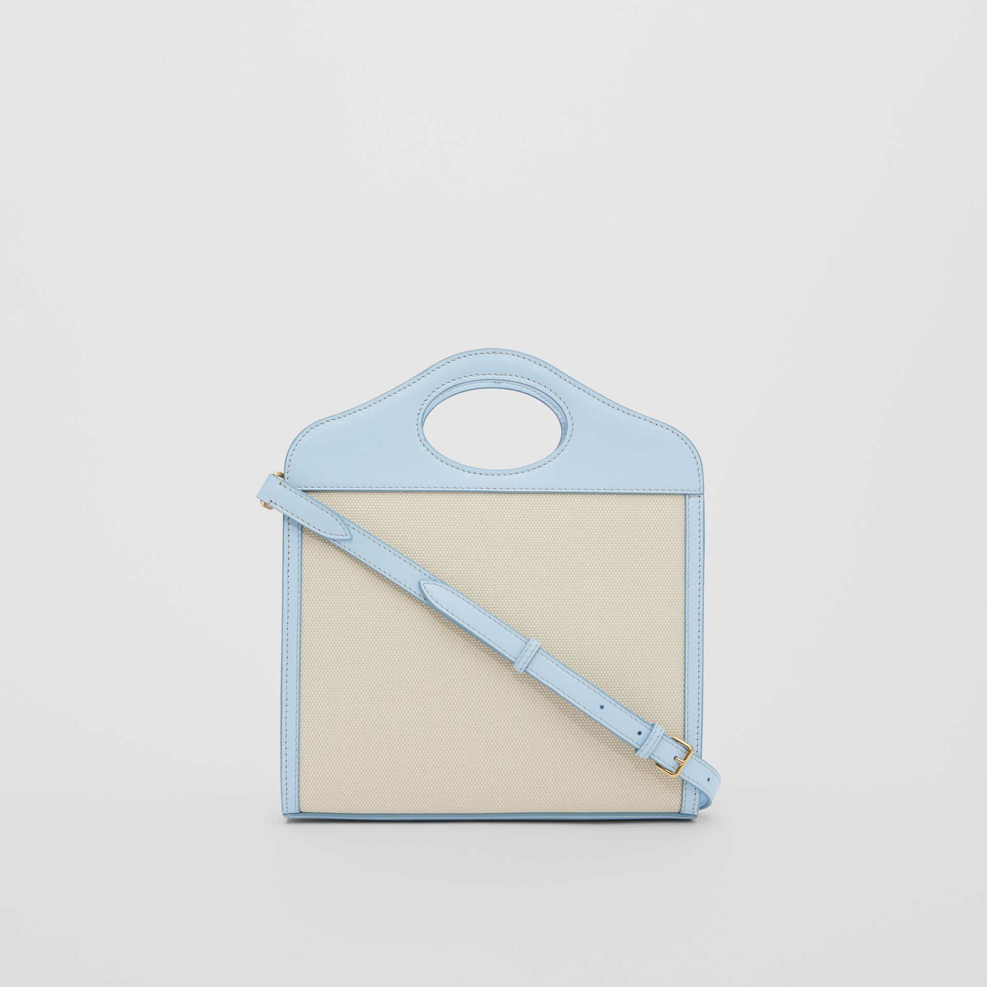 Mini Two-tone Canvas and Leather Pocket Bag in Natural/pale Blue | Burberry United States - gallery image 7