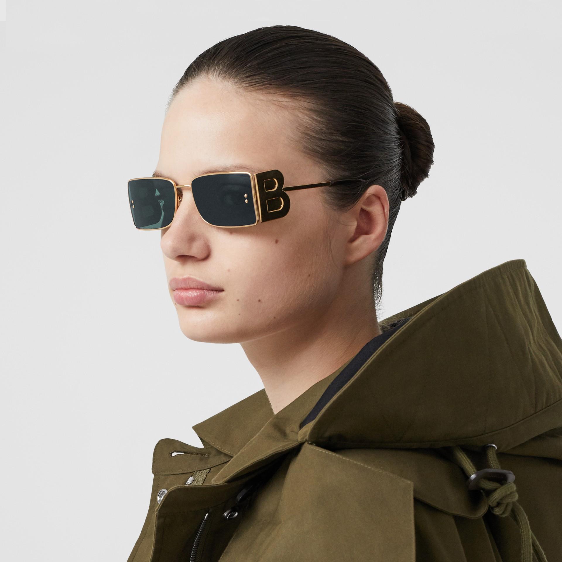 'B' Lens Detail Rectangular Frame Sunglasses in Tortoiseshell | Burberry - gallery image 2