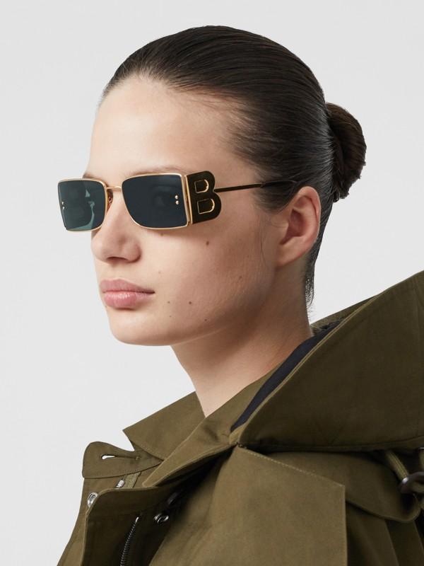 'B' Lens Detail Rectangular Frame Sunglasses in Tortoiseshell | Burberry - cell image 2
