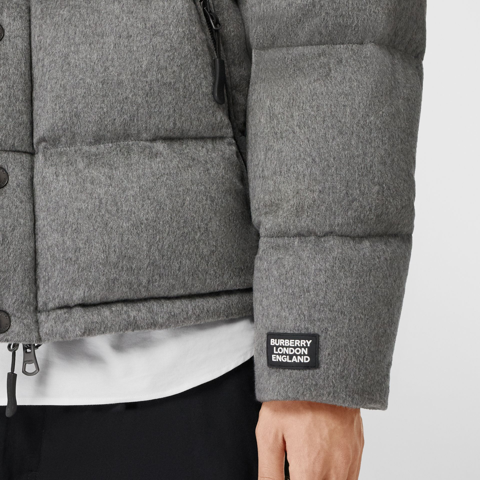Detachable Sleeve Cashmere Hooded Puffer Jacket in Mid Grey Melange - Men | Burberry - gallery image 5
