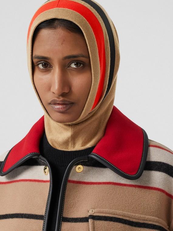 Stripe Detail Merino Wool Hood in Warm Camel