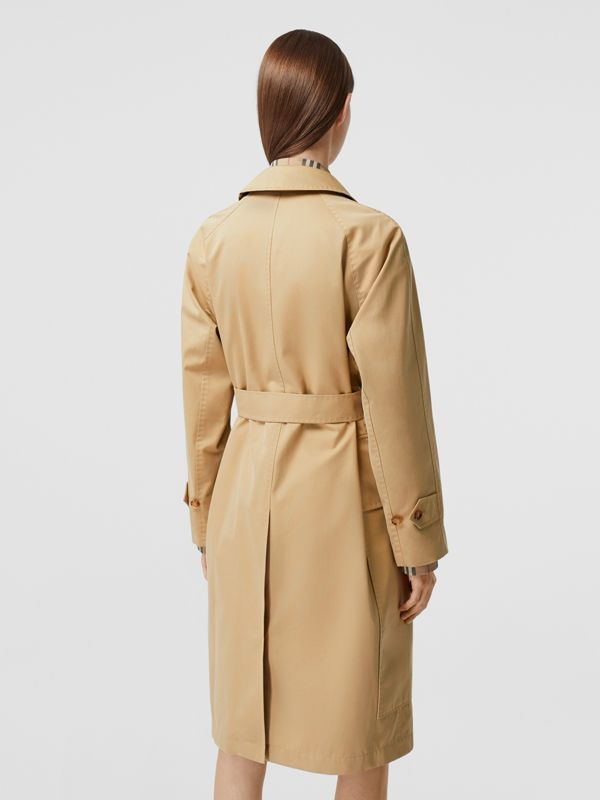 Cotton Gabardine Belted Car Coat in Honey - Women | Burberry - cell image 2