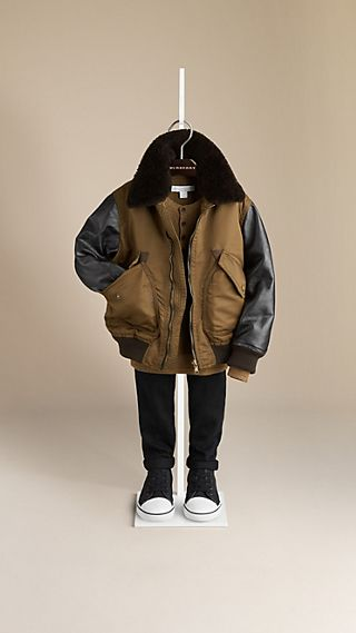 Leather Sleeve Flight Jacket with Shearling Collar