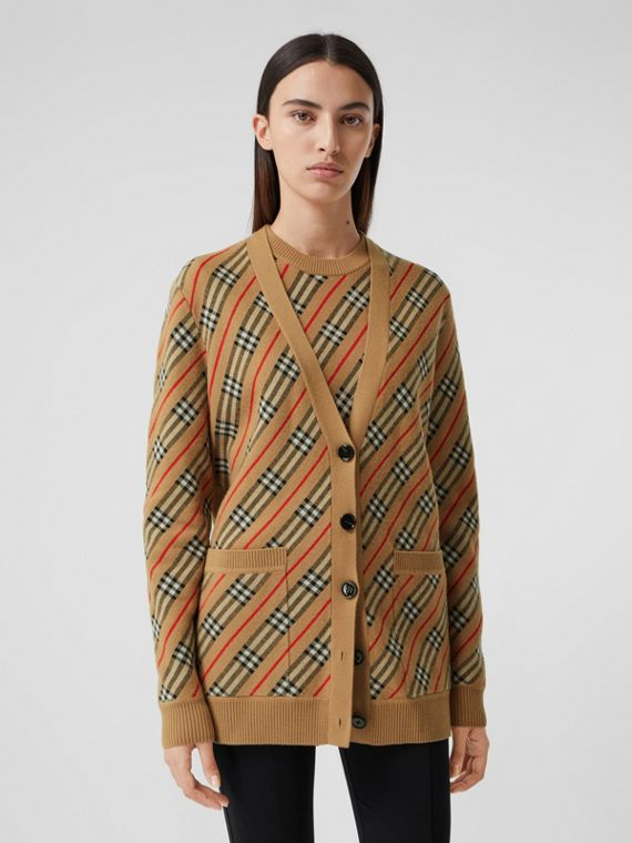 Stripe Merino Wool Blend Cardigan in Camel
